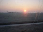 Een pitoresk plaatje van de terugreis met opkomende zon ;)