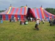 de tent waar we zouden spelen